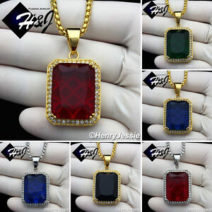 """18-36""""MEN Stainless Steel 3mm Silver/Gold Box Chain Black/Blue/Ruby Pendant*P103"""