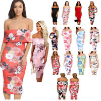 New Ladies Summer Off Shoulder Floral Cap Sleeve Bodycon Midi Dress Size UK 8-16