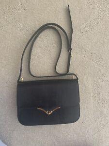 vintage gucci handbag navy Lizard Leather