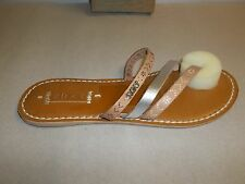 Roxy Size 7 M Mardi Gras ARJL200041 Silver Leather Sandals New Womens Shoes