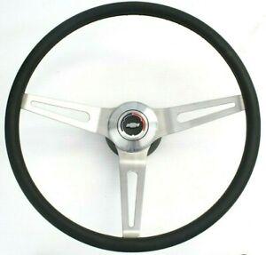 """67-72 Chevy C10 Truck/Car Comfort Grip 15"""" Steering Wheel w/ Bowtie Horn Button"""