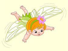PRINT NURSERY BABY FAIRY FLYING GREEN WINGS PINK FLOWER KIDS BEDROOM LFMP0810