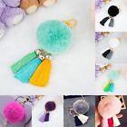 Soft Cute Rabbit Fur Ball PomPom Cell Phone Car Pendant Handbag Key Chain Rings