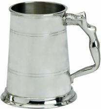 More details for pewter tankard handmade 1pt double band nymph woman handle engravable