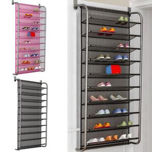 6/10 Tier Metal Shoe Holder Organiser Over Door Hanging Shelf Rack Storage Hooks