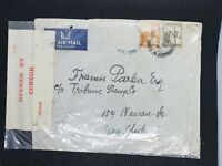 Palestine Censored Postal Cover to New York USA apx 1920-1948 20 mills + 5 mills