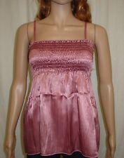 Ladies Pink Crinkle Satin Sleeveless Camisole Top Size 12
