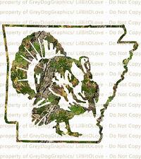 Camouflage Camo Arkansas Turkey Hunter Hunting Vinyl Decal Sticker Gobbler