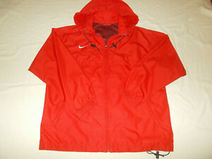 NIKE FULL ZIP RED HOODED WINDBREAKER JACKET MENS LARGE EXCELLENT CONDITION