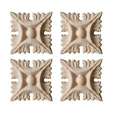 Woodcarving Decal Square European Style Carbinet Door Carved Applique Decor 4PCS