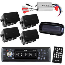 PLMR17BTB Marine Receiver Wireless Bluetooth + 800W Amplifier 4 Speakers / Cover