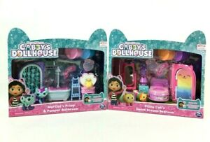 Gabby's Dollhouse Furniture Sets And Figures Bedroom And Bathroom Set Of 2