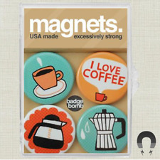 I LOVE COFFEE MAGNET SET of 4 IN PLASTIC CASE EXCESSIVELY STRONG HELPS CAT RESQ