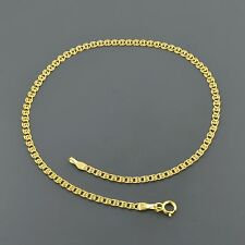 """10K YELLOW GOLD 2.7MM MULTI LINK LOVE 10"""" ANKLET FREE SHIPPING"""