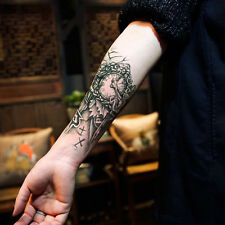 New Fashion Cool Men Temporary Tattoo Arm Halloween Clock Removable Stickers Art