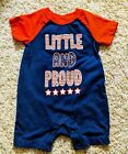 Way To Celebrate Boys One Piece Romper 3-6 M Little And Proud Red White Blue