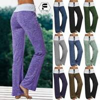 Women Foldover Trousers Flare Wide Leg Heather Long Loose Harem Yoga Pants US A8
