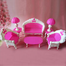 6 items / lot  plastic vintage sofa couch desk lamp Furniture for barbie doll