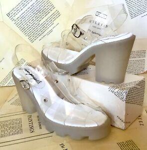 Free People Platform Shoe Sandal Clear Plastic Weave Strap Rubber Heel 41/10 NEW