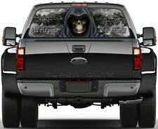 Grim Reaper Skulls Black Fire Welcome To Hell 3  Rear Window Graphic Decal Truck