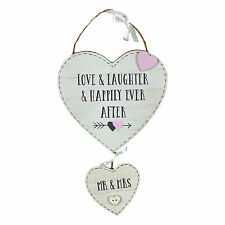 Mr & Mrs Love Story Hanging Double Hearts Plaque Sign Decoration  WG744