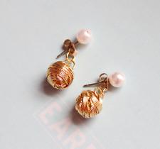 Gold Twist Knot Pearl Stud Earrings Drop Earrings 2-way 925 Silver Gold Plated