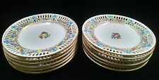 "12 Antique Max Roesler (RMR) Hand Painted Drseden 7 1/2"" Reticulated Plates"