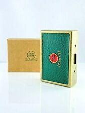 Zigaretten Etui Lucky Strike Vintage Messing / Leder Logo / Grün / Schachtel Box