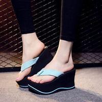 2016 Women's Wedge High Heels Platform Flip Flops Slippers Sandals & Beach Shoes