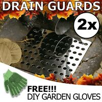 """2 x Drain Cover Leaf Guard Square 6"""" 150mm Metal Stainless Steel Plate Grate UK"""