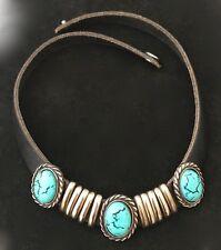 Unique Turquoise Leather Choker Necklace w snap closure