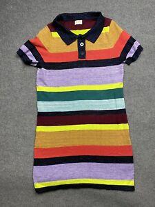 Gorman Polo Knit Dress Womens 14 Midi Length Collared Stretch Striped Metallic
