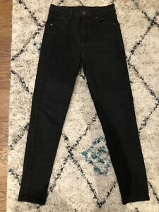 Topshop Black High Waisted Jamie Jeans W26 L30 Size UK 8 Ladies
