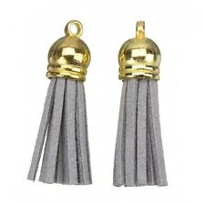 Encantos de Borla de gamuza con tapa de oro para la fabricación de joyas y artesanía Gris 36mm (H14/4)