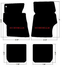 NEW! 1966 - 1967 CHEVELLE Floor Mats Black Carpet Embroidered Red LOGO 4pc Set