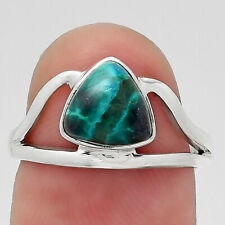 Natural Azurite Chrysocolla 925 Sterling Silver Ring s.6.5 Jewelry 6315