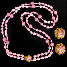 Sign Miriam Haskell Pink Art Glass Russian Gold Pl Filigree Necklace & Earrings