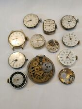 Parts~12 individual Watch Parts. Most have Faces, Gears, Few Backs, Hands, etc.