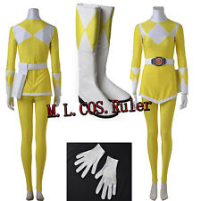 New Zyuranger Boy Tiger Ranger Costume Power Rangers Cosplay Yellow Jumpsuit