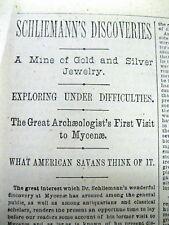 <2 1876 newspaper ARCHEOLOGIST Schliemann DISCOVERS CITY OF TROY Priams Treasure