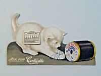 Corticelli Silks White Kitten 1907 Stand Up Victorian Trade Card Calendar