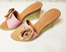 Enzo Angiolini Ealevon Canvas with Leather Flower Mules Pink /Tan Size 7