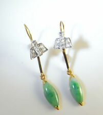 Earrings Jade Yellow Gold Vintage & Antique Jewellery