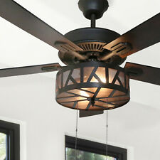52in 5-Blade Woodgrain Caged Rustic Caged LED Ceiling Fan -Pull Chain