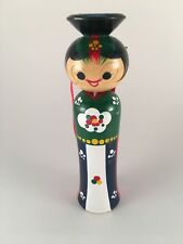 Vintage Japanese kokeshi wooden bobble-head doll 6.25""