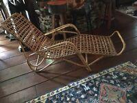 Mid Century Bamboo Rattan Chaise Lounge