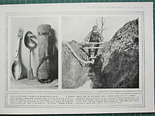 1915 WWI WW1 PRINT ~ SOLDIERS LIFE SAVED DEFLECTING BULLETS ~ PUMP IN TRENCHES