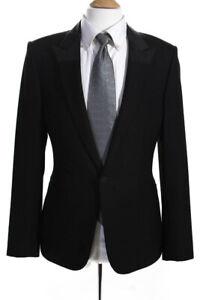 Balenciaga Mens Wool Notched Smoking Tuxedo Jacket Black Size 48 European