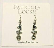 PATRICIA LOCKE Black & White Ice Baby Swarovski Silver Hook Earrings RETAIL $111