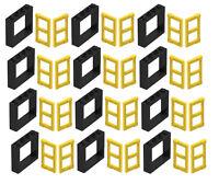 ☀️LEGO LOT OF 12 NEW BLACK 1 X 4 X 3 WINDOWS w Yellow Panel Pane TOWN CITY HOUSE